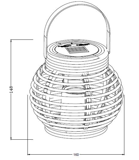 Solar Round Rattan Lantern Garden Light (mini size) -led garden decorative lights outdoor