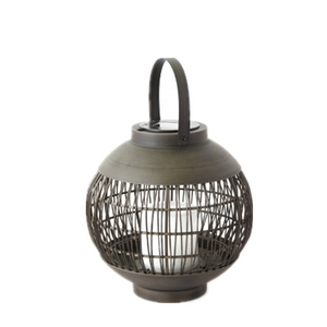 Solar Outdoor Powered Rattan Lantern Ball Shaped (Small Size) with LED Candle Holder in Nature Color