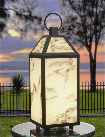 Marble Lens Lantern Black-decorative Lights Outdoor