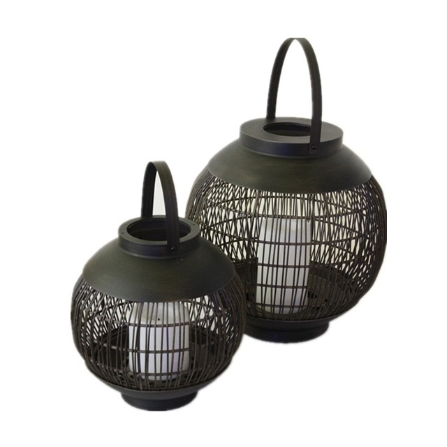 Battery Outdoor Powered Rattan Lantern Ball Shaped (Small Size) with LED Candle Holder in Nature Color