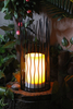 Solar Powered Waterproof( Small Size) Iron Metal Lantern with 1 Flameless Flicker Plastic LED Candle in High Quality