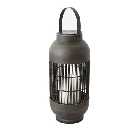 Solar Outdoor Powered Rattan Lantern Column Shaped (Small Size) with LED Candle Holder in Nature Color