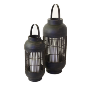 Battery Outdoor Powered Rattan Lantern Column Shaped (Small Size) with LED Candle Holder in Nature Color