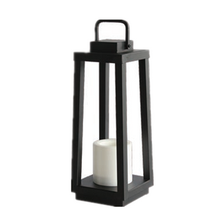 Outdoor Garden Decorative Antique Black Metal Iron Solar Lantern With LED Candle Holder ------Mini Size