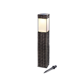 Solar Rattan Bollard Square Medium Size -Outdoor Patio Light