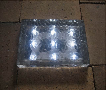 Solar Waterproof Glass Brick Ice Cube LED Light Crystal Brick Stone Lamp Garden Pathway Patio Light----23.5X15.3X6CM