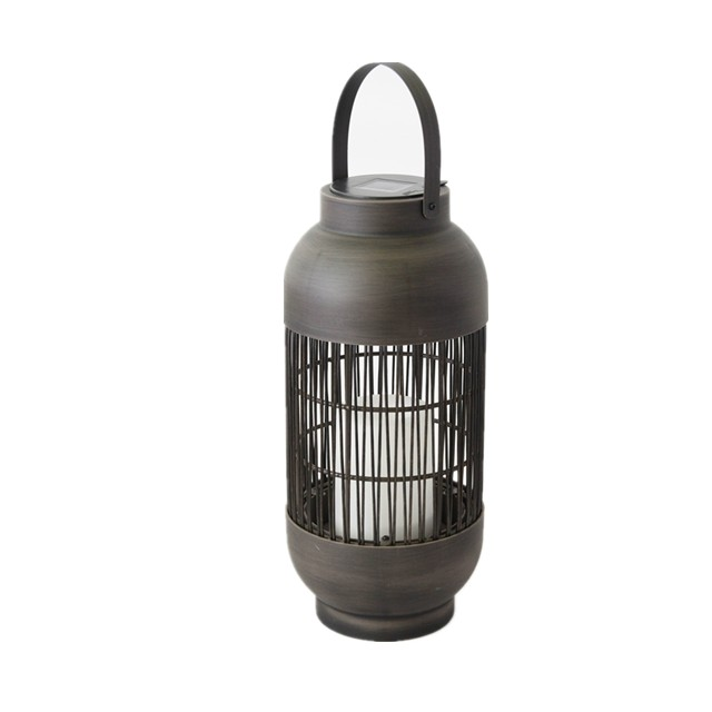 Solar Outdoor Powered Rattan Lantern Ball Shaped (Large Size) with LED Candle Holder in Nature Color